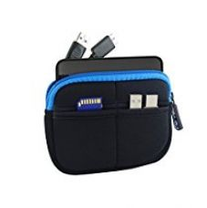 GoFree Slim Line HDD Pouch / Case for Seagate Backup Plus Slim, Lenovo External Hard Drive, WD My Passport Ultra, WD Elements (Black w/ Azure Blue) for Rs. 299