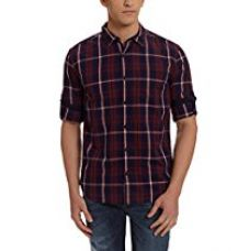 Buy Highlander Men's Casual Shirt (HLSH009050_Large_Navy Blue) from Amazon