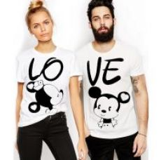 Flat 70% off on Melcom White Round Neck Mickey Printed Couple Combo