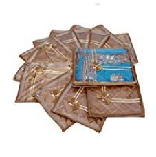 Kuber Industries™ Saree cover in Golden satin, Garment Organiser, Wedding Collection Gift 12 Pcs combo for Rs. 1,049