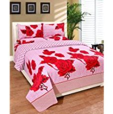 Warmland 140 TC Cotton Double Bedsheet with 2 Pillow Covers - Floral, Multicolour for Rs. 537