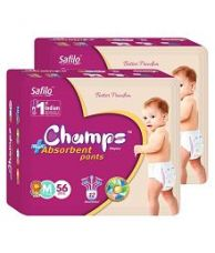 Buy Champs High Absorbent Pant Style Diaper Medium(56 Pieces) - Pack of 2 from SnapDeal