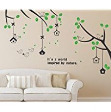 Solimo Wall Sticker for Living Room (Branches & Bird Houses,  ideal size on wall: 160 cm x 70 cm) for Rs. 189
