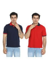Flat 74% off on Brandtrendz Uva Red And Navy Pack of 2 Polo T Shir...