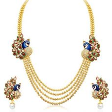 Sukkhi Gold Plated Multi Strand Necklace With Drop Earring For Women for Rs. 359