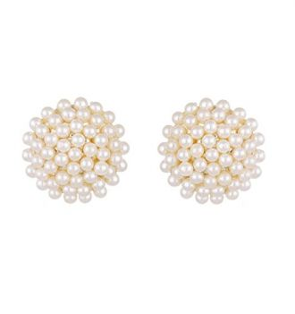Buy Zeneme White Pearl Engraved Push Back Stud Earrings For Women from Amazon