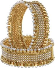 Zeneme Gold Plated Brass Bangle Set Jewellery For Women (2.8) for Rs. 409