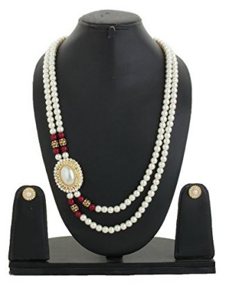 Buy Bling N Beads Double line Long White Pearl Jewellery Set For Women from Amazon