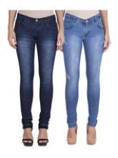 Flat 48% off on American-Elm Women's Stretchable Faded Jeans-Pack ...