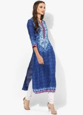 Buy Biba Blue Printed Viscose Kurta from Jabong