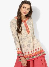 Biba Beige Printed Kurti for Rs. 540