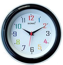 Buy Sonic Black Round Plastic Analogue Quartz from Amazon
