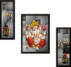 Get 78% off on SAF Set of 3 Ganesh Digital Reprint Painting  (14 inch x 20 inch)
