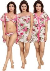 Flat 50% off on Shopping Station Women's Nighty with Robe  (Multicolor)