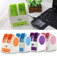 Buy Mini Small Fan Cooling Portable Desktop Dual Bladeless Air Cooler USB With USB Cable for Rs. 349