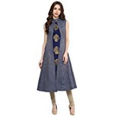 Buy Aahwan Women's Blue Denim A-line Long Kurti from Amazon