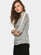 Bossini Women White & Blue Floral AOP Regular Fit Top for Rs. 899