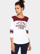 Ajile by Pantaloons Women White & Maroon Printed Regular Fit Varsity T-shirt for Rs. 499