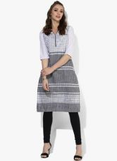 Buy Aurelia White Checked Cotton Kurta for Rs. 440
