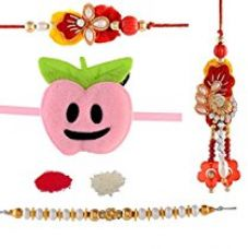 Buy JaipurCrafts Rakhi Celebrations Combo Of 4 Rakhi and Roli Tika from Amazon