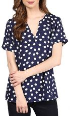 Queens Women's Half Sleeve Polka Dot Crepe Blue Tops, Small for Rs. 599
