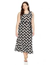 Buy Star Vixen Women's Plus-Size Sleeveless Maxi Skater Dress with Contrast Piping and Tie Belt, Black/Ivory Chevron/Black, 2X from Amazon