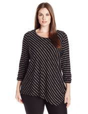 NY Collection Women's Plus Size Ruched Long Sleeve Boat Neck Asymmetical Point Hem Stripe Top, Jet Patrol, 2X for Rs. 2,031