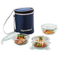 Signoraware Executive Glass Lunch Box Set with Bag, 390ml/16cm, 3-Pieces, Transparent for Rs. 925