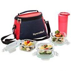 Signoraware Best Glass Lunch Box Set with Bag, 22cm, 4-Pieces, Transparent for Rs. 1,160