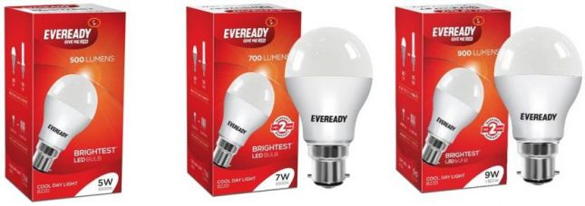 Get 15% off on Eveready 5 W, 7 W, 9 W Standard B22 D LED Bulb  (White, Pack of 7)
