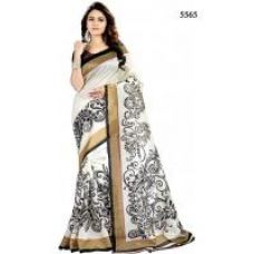 Buy Yuvanika White Floral Bhagalpuri Silk Saree With Blouse from ShopClues