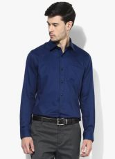 Buy Arrow Navy Blue Solid Slim Fit Formal Shirt from Jabong