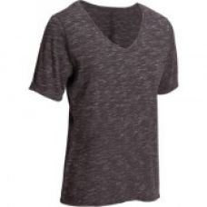 Buy Women's Gym & Pilates Short-Sleeved T-Shirt - Heathered Dark Grey for Rs. 349