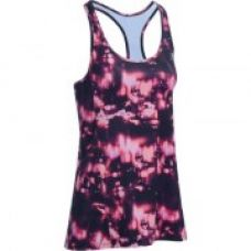 Buy Energy Women's Long Cardio Fitness Tank Top - Orange and Black Print for Rs. 199