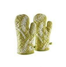 Solimo 100% Cotton Padded Oven Gloves, Fern (Pack of 2, Green) for Rs. 269