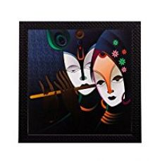 Buy eCraftIndia  Radha Krishna Matt Textured Framed  UV Art Painting (Synthetic Wood, 27.9 cm x 1.3 cm x 27.9 cm) from Amazon