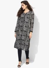Buy Biba Black Printed Kurta With Lining for Rs. 2000