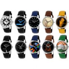 GUG Round Dial Multi Synthetic Leather Pack of 10 Stylish Analogue Watches For Men And Boy's for Rs. 30