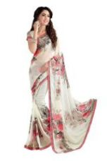 Buy Styloce Georgette White Floral Print Saree. Sty-9136 for Rs. 399
