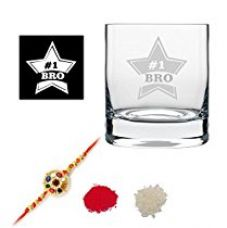 TYYC New Year Gifts For Brother, Starry No.1 Brother Whiskey Glass with Coaster Set of 1 - 325 ml for Rs. 499
