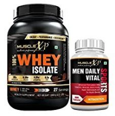 Buy MuscleXP 100% Whey Protein Isolate 1Kg Double Chocolate + Men Daily Vital Sports MultiVitamin 90 Tablets from Amazon