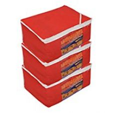 Kuber Industries™ Non woven Saree cover Bag Set of 3 Pcs /Wardrobe Organiser/Regular Clothes Bag Red-19185 for Rs. 299