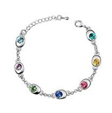 Buy Nakabh Rodium Plated Multicolour Crystal Charm Bracelet for Girls and Women from Amazon