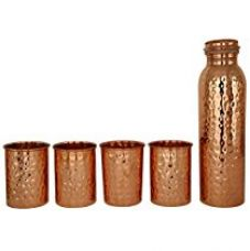 Buy JaipurCrafts Hammer Pure Copper Bottle With Four Tumbler Glass -1000 ml for Good Health Yoga, Ayurveda Benefits from Amazon