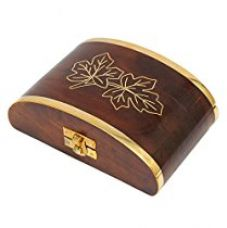 Buy Store Indya Wooden Hand Crafted Keepsake Jewellery Gift Box Organizer with a Maple Leaf Motif from Amazon