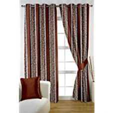 HOMEC Trendy Printed Curtain Set of 2 (Size - Door 46 X 84 inch/Color - Brown) for Rs. 699