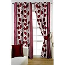 HOMEC Trandy Printed Curtain Set of 2 (Size - Window 46 X 60 inch/Color - Maroon) for Rs. 399
