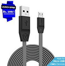 Tukzer Premium Micro-USB to USB Cable V2.0 Fast Charging 2.4 Amp & Data Cable [2M/6.6ft - White] for Rs. 329