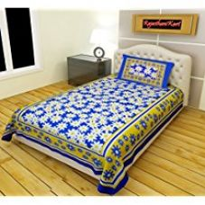 Get 69% off on RajasthaniKart Classic 144 TC Cotton Single Bedsheet with Pill...