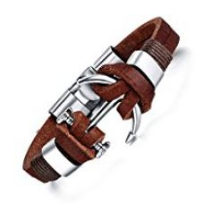 Hot And Bold Stylish Anchor Charm Genuine Leather Wrap Bracelet For Men / Boys. Daily/Party/Casual/Office Wear Fashion Jewellery. (Brown) for Rs. 449